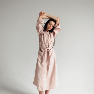 Халат довгий жіночій з льону, лляний халат, лляний халат для дому, халат на подарунок