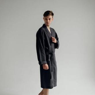 Халат мужской, льняной халат, халат для дому из льна