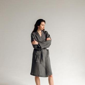 Льняной халат для дома женский короткий, короткий халат из льна, халат с вышивкой на подарок.