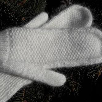 Белоснежные варежки из пуха норки. Варежки ангора.