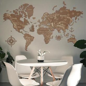 Деревянная карта мира (светлый орех) 2D