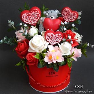 """Букет цветов из мыла в подарочной коробке """"Мой Валентин"""""""