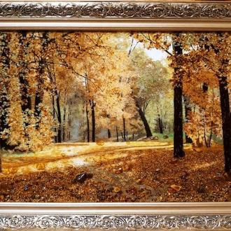 Картина из янтаря лес