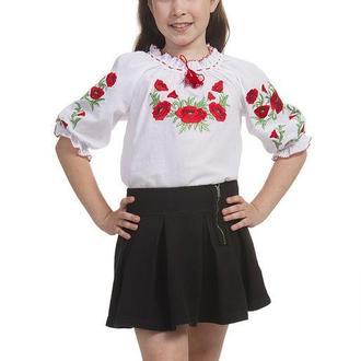 Блуза для дівчинки Макова роса (батист білий)