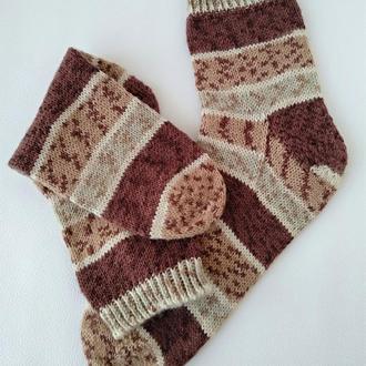 Вязаные теплые шерстяные носки