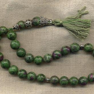 "Четки ""Дракон"" - рубин в зеленом цоизите 12 мм, 27+2 бусины (жезл), длина 215 мм"