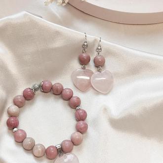 Браслет из натуральных камней, браслет из родонита, браслет на подарок, браслет с сердцем