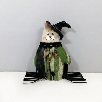 Кот волшебник зеленый Мягкая игрушка котенок Сказочный котик Волшебный декор котики