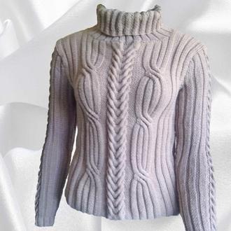 Свитер классический Женский свитер с аранами под горло