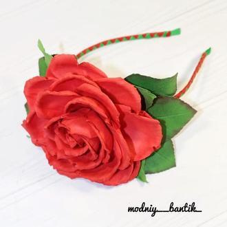 Обруч обідок з трояндою під карнавальний костюм троянда
