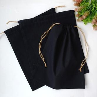 Эко мешочек из хлопка черный, еко торба, тканевой, многоразовый мешок zero weste