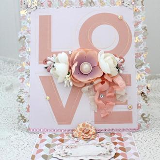 Большая открытка с Днем Святого Валентина , Валентинка, открытка с 14 февраля