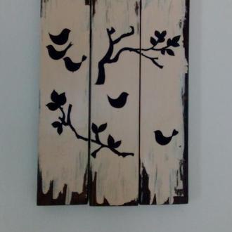 """Панно на деревянных досках """"Птицы"""""""