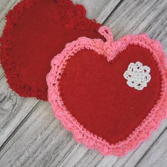 Набор сердечек - подставки под чашку - Валентинки ручной работы