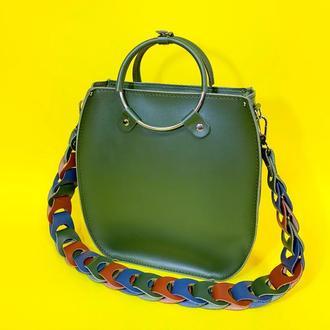 """Жіноча сумка """"Мальва"""" на плече з натуральної шкіри кольору хакі з оригінальним ременем, зелений колір"""