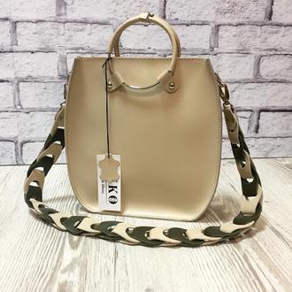 """Женская сумка """"Мальва"""" на плечо из натуральной кожи бежевого цвета с оригинальным ремнём"""