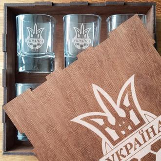 Рюмка, набор рюмок от 2 до 6 штук в деревянной подарочной коробке