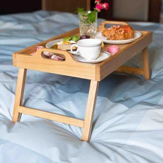 Поднос-столик Breakfast in bed. Столик в постель из дуба.