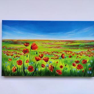 """Картина """"Маки"""" 30х50 см, масло, холст на подрамнике"""