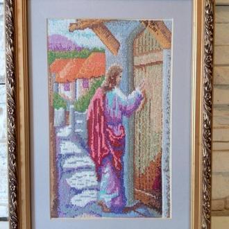 Картина, вышитая крестом. Мир Вашему дому. Багетная рама. Паспарту. Стекло антиблик.