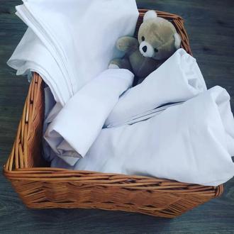 Семейный комплект постельного белья из страйп сатина цвет белый