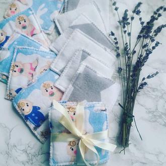 Многоразовые хлопковые ЕКО спонжи для новорожденных