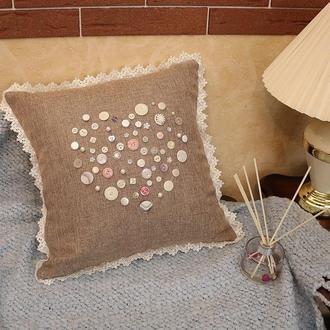 Подушка декоративная Сердце День Святого Валентина жемчужные пуговицы