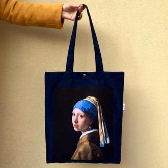 Арт шоппер Девушка с жемчужиной, черная эко сумка с принтом, искусство, сумка для покупок с карманом