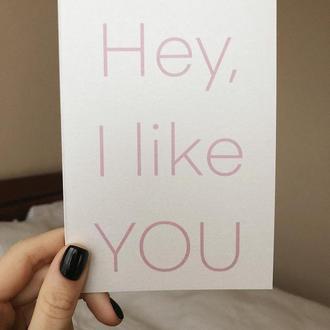 Открытка ко Дню святого Валентина | Hey, I like YOU | А6