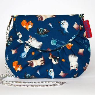 """Маленька сумочка """"Котики на синьому"""""""