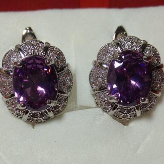 Серьги с Аметистом бриллиантовой огранки, серебро 925