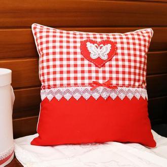 Подушка в стиле кантри на День Святого Валентина - Подушка любви с красным сердцем