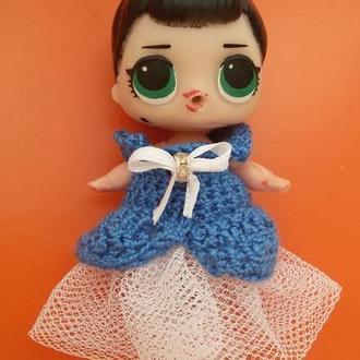 Нарядное платье для куклы 8см, для Лол, для пупсика. Одежда для куклы LOL Surprise