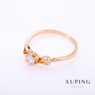 """Кольцо Xuping цвет металла """"золото"""" белый камень 5мм р-р 17-20 Артикул: 15829"""