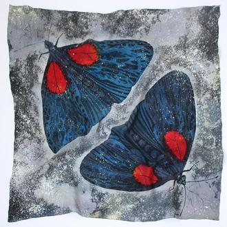 Шелковый платок  с бабочками, женский платок, шовкова хустка