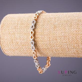Браслет Xuping плетение Бесконечность L-18-20см s-5мм цвет серебро-золото Артикул: 18774