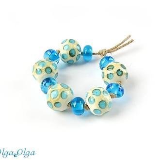 Бусины лемпворк «Горохи голубые»