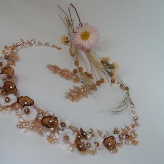 Свадебное украшение.Колье ручной работы.Комплект украшений для невесты