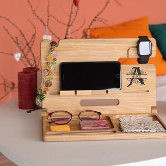 Деревянная подставка для телефона, планшета, подарок парню, подставка для планшета