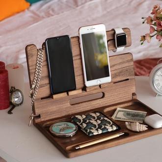 Подставка для гаджетов, зарядная станция, органайзер из дерева, держатель для часов