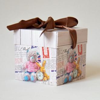 Подарочная складная коробочка с мишкой