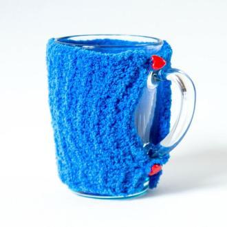 Готовое изделие Грелка на чашку вязанная, теплушка для чашки, свитер на чашку