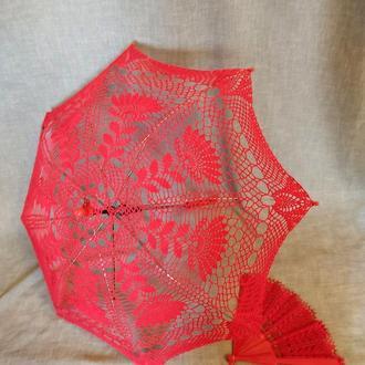 Комплект: красный зонтик и веер такого же цвета