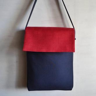 Красно-синяя сумка из текстиля