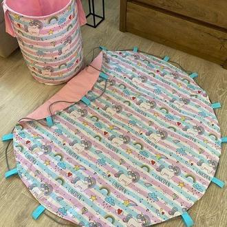 Корзина для игрушек, коврик-мешок, набор для детей