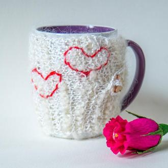 Грелка на чашку вязанная, теплушка для чашки, свитер на чашку