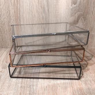 Шкатулка стеклянная для фото и украшений