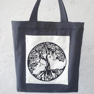 """Льняная сумка с вышивкой """"Дерево"""""""