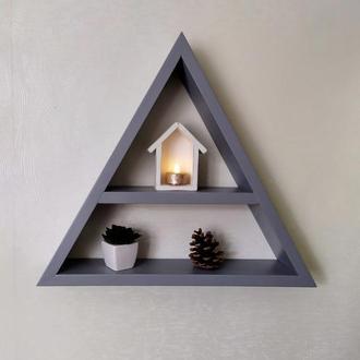 Треугольная полка гора горы для книг и мелочей в детскую серая