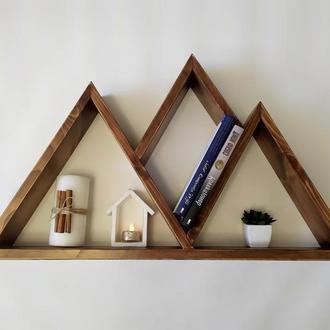 Настенная Полка полки Горы гора натуральное дерево для книг и мелочей